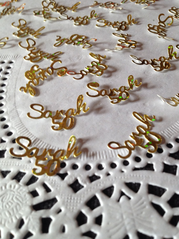 custom personalised table confetti 50th birthday golden