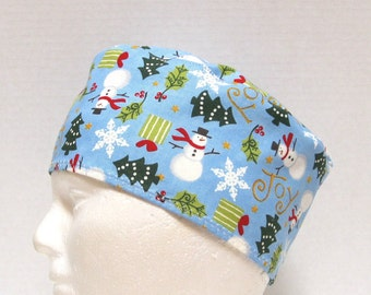 Mens Christmas Surgical Scrub Cap Snowmen, Snowflakes and Trees