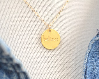"Gold vermeil ""believe"" gold fill necklace G3100"