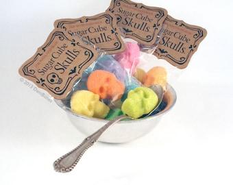 SUGAR SKULL  Sugar Cube Skulls - Gift Bags of Four Skulls, Colorfull Skull Sugar
