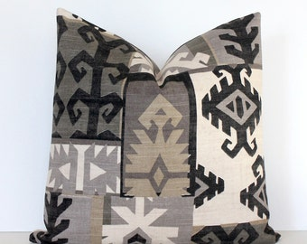 "Black and Gray Southwestern Designer Cushion Cover 18"" Accent Pillow cream tan brown cottage natural grey rustic cabin geometric"