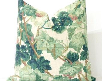 Green Floral Decorative Designer Pillow Cover Accent Cushion leaves nature arbor linen f.schumacher vine cream ivory brown leaf botanical