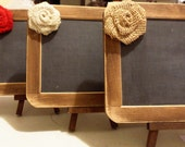 Rustic Chic CHALKBOARD Sign - 4x6 Size with Cute Burlap Flower and EASEL - Natural or Rustic Stain