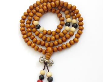 6mm 108 Yellow Wood Beads Tibetan Buddhist Buddha Prayer Stretchy Rosary Beaded Mala  ZZ234