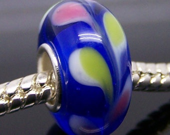 1Pc Murano Glass Charm Bead Fit European Bracelet Necklace Jewelry 14mm x 7.5mm  jaz328