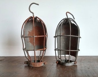 Pair of Industrial Vintage Utility Light Cages
