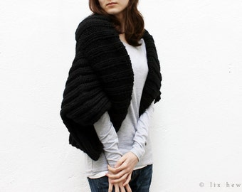 Chunky Pure Wool Black Knit Shrug - Short Sleeve - Choice Of Trending Colors