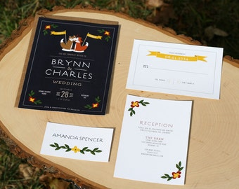 Foxy Wedding Invitation - PRINTABLE - rustic wedding - barn wedding - foxes - woodland animals