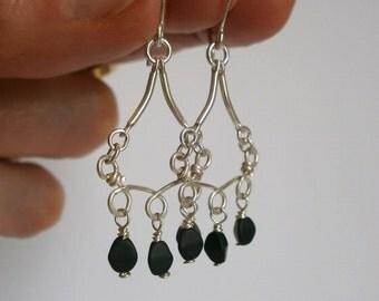 Delicate Sterling Silver Black Bead Dangle Earring Teardrop Fringe Earring Small Silver Chandelier Hammered Wire Jewelry