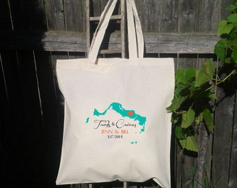 25 Wedding Welcome Bags-Personalized Wedding Tote- Turks and Caicos - You shoose color