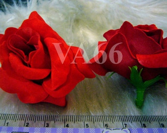 Fabric Rose Flowers Red Rose 7cm diameter for Craft for Jewelry Making Supplies Vintage look Scrapbooking Sewing 3pcs