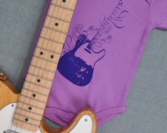 Tele-swirl Guitar Organic Cotton Short Sleeved Onesie (3-6 months)