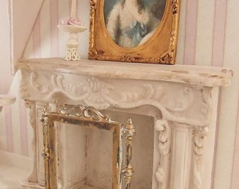 French carved fireplace - 1:12 ( 1 inch) dolls house dollhouse miniature