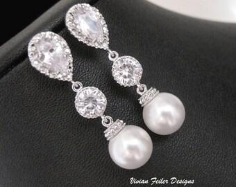 Wedding Earrings Pearl Cubic Zirconia Bridal Jewelry Bridesmaid Gift Bridal Pearl Earrings Prom