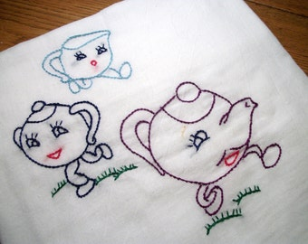 Dish Towels (Tea Towels) Dancing Dishes Design Flour Sack Tea Time Hand Embroidered Dish Towel