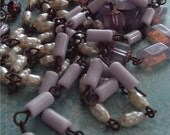 BuY ONe GeT ONE FRee Old FRench Lilac Lavender Opaque Glass Tube Beaded Chain Aged Dark Patina wire links ...Rosary bead chain