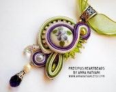 Soutache necklace Bead Embroidery Necklace green purple Bead Embroidered Swarovski - Made to order