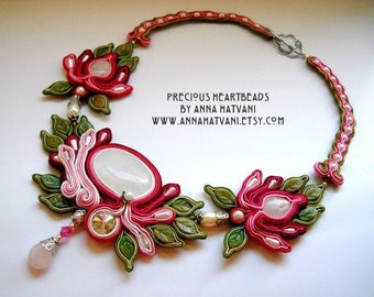 Bead Embroidery Necklace Soutache pink green silver PICK YOUR COLOR Bead Embroidered Swarovski - made to order