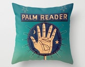 Madam Sophia's Palm Reader Sign - Mid Century Modern Decor - Neon Sign Pillow - Teal and Blue Home Decor - 16x16, 18x18 or 20x20