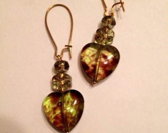 Wildflower Leopard Heart Earrings