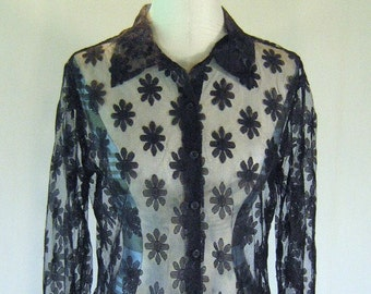 1990s Sheer Black Daisy Mesh Floral Shirt Top