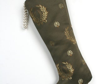 Neoclassical Christmas Stocking - Brown and Gold - Classic