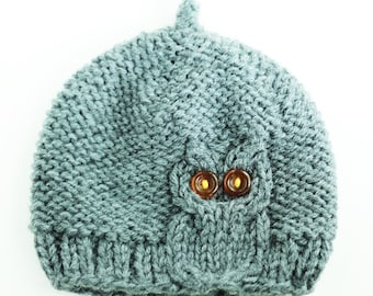 Owl Cable Knit Hat in Light Gray