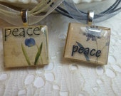 Peace Floral Scrabble Tile Pendant Necklace on Ribbon