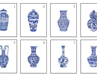 Pick Two Blue and White Chinese Porcelain Giclee
