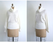 CLEARANCE SALE // vintage 1970s cowlneck slouch sweater - oversize slouchy cowl neck turtleneck / Winter White - ivory / 70s . 1980s jumper