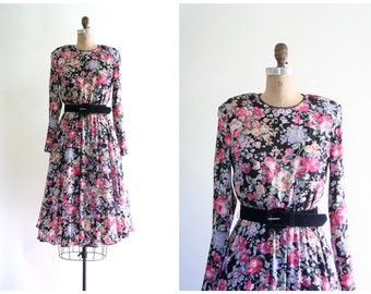 vintage 1980s rose floral print dress - 80s soft rayon / Pink Roses - full skirt / Sweet Kawaii - tea party - Valentine's Day