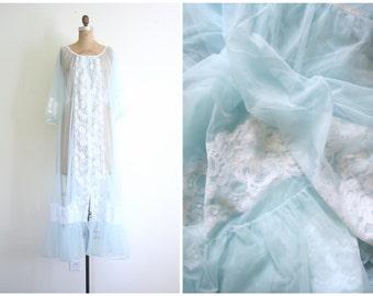 sheer powder blue peignoir robe - dressing gown / Fairy Kei - baby doll / vintage 60s lingerie - mermaid costume