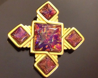 Vintage Yves Saint Laurent Jewelry YSL Brooch Maltese Cross Rare Beauty
