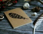 Hawk Feather Notebook Moleskine Journal Hand Carved Rustic Nature Bird Animal Autumn Fall Winter Camp Travel Men Women Writer Hostess Gift
