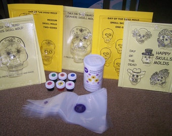 Day of the Dead Sugar Skull Party Kit - One Mold Included - Make Sugar Skulls at Home
