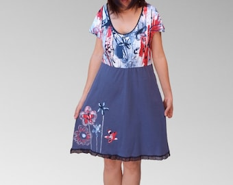 Cute layered little dresses/Women Hand painted short dresses/baby doll summer flower bottom