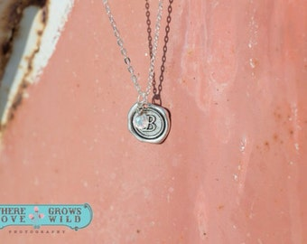 Monogram Wax Seal Necklace - Letter necklace - wax seal - initial necklace