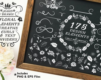 Floral Clipart with Curls, Swirls, Wreaths and Decorative Elements - Blog Graphics - Instant Download