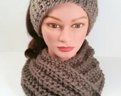 Cowl and Headband Set for women or teens. Taupe chunky yarn. Hand knit.