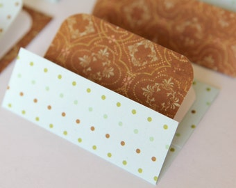 Mini Cards n Envelopes - Set of 6 - Light Blue with Tiny Dots and Brown Designs