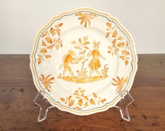 "ONE vintage ""Olerys"" pattern salad plate by Longchamp, 7-5/8 in, hand painted faience French country style, fox, girl, pumpkin orange, cream"