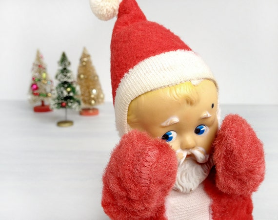 Knickerbocker Baby Santa Plush With Rubber Face Vintage