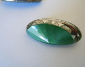 Art Deco Green Glass Buttons Collectible Sewing Supply