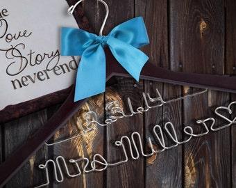 SALE Double Decker Personalized Wedding Hanger.  47 ribbon colors/Custom Bridal Hanger/Brides Hanger/Bride/Name Hanger