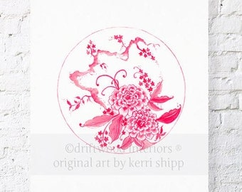Chinoiserie Plate in Ruby Print