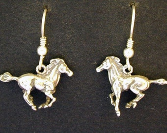 Sterling Silver Horse Earrings on Sterling Silver French Wires
