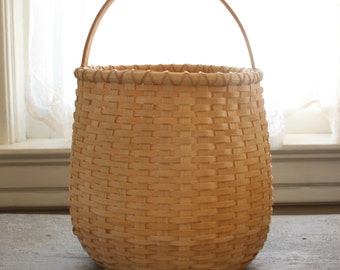 Vintage Handled Basket-Beautiful Patina,Hand Woven, Signed by Maker