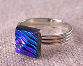"""Dichroic Ring Tiny Adjustable - 1/4"""" / 8mm - Emerald Green Teal Ripple Wavy Ripples Textured Fused Glass"""