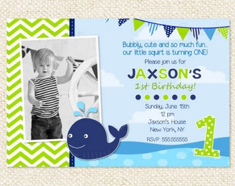 Whale Birthday Invitations