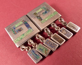 Vintage Los Castillo Mosaico Azteca Brooch with Dangles